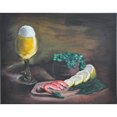 "Картина ""Натюрморт с пивом и креветками"""