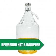 """Бутылка стеклянная """"Дама"""" 5 л. с бугельной пробкой"""