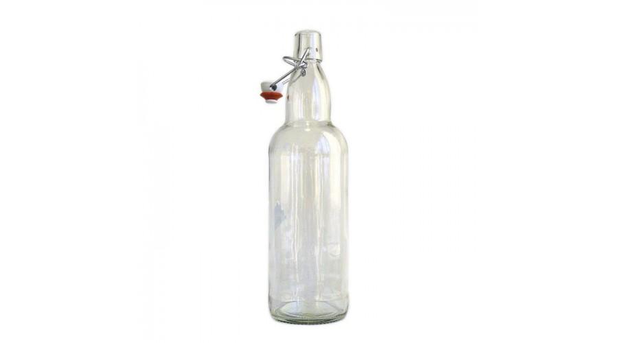 Бутылка с бугельной пробкой 1 литр прозрачная